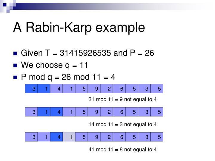 A Rabin-Karp example