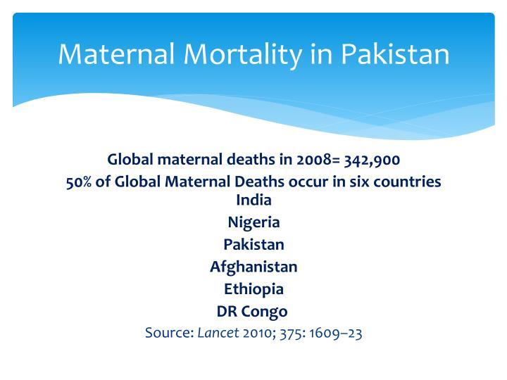 Maternal Mortality in Pakistan