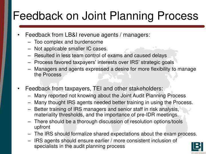 Feedback on joint planning process