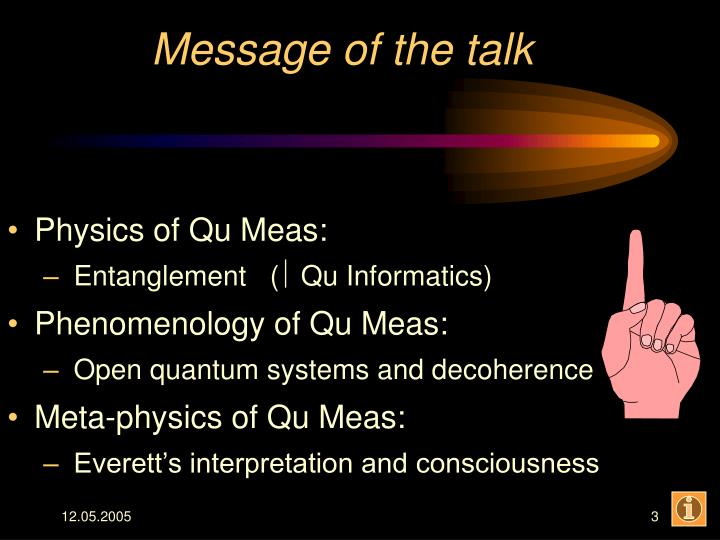 Message of the talk