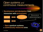 open systems and continuous measurements