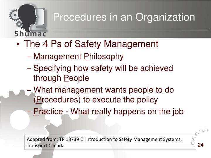 Procedures in an Organization