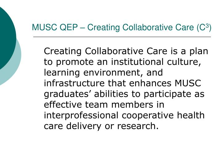 MUSC QEP – Creating Collaborative Care (C