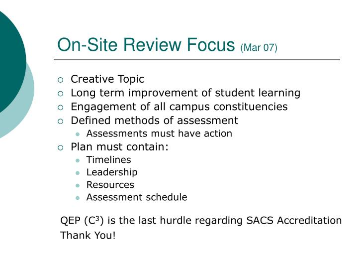 On-Site Review Focus