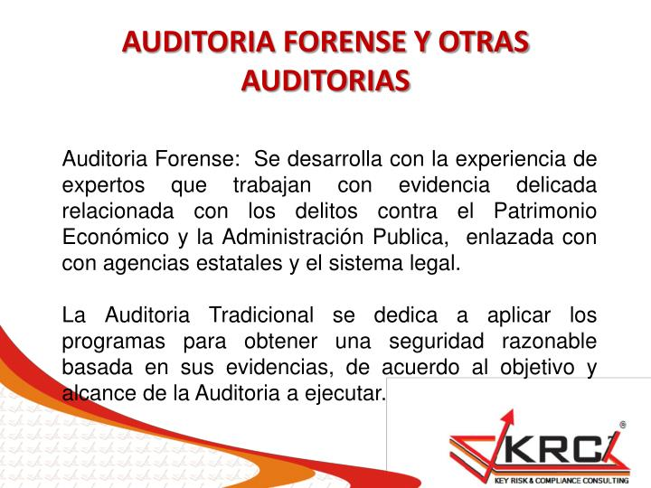 AUDITORIA FORENSE Y OTRAS AUDITORIAS