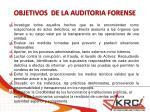 objetivos de la auditoria forense