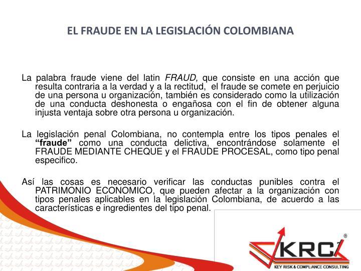 EL FRAUDE EN LA LEGISLACIÓN COLOMBIANA