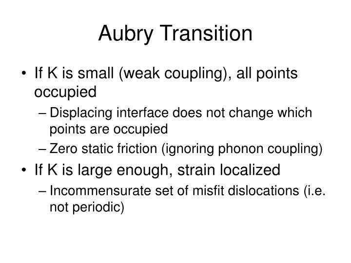 Aubry Transition