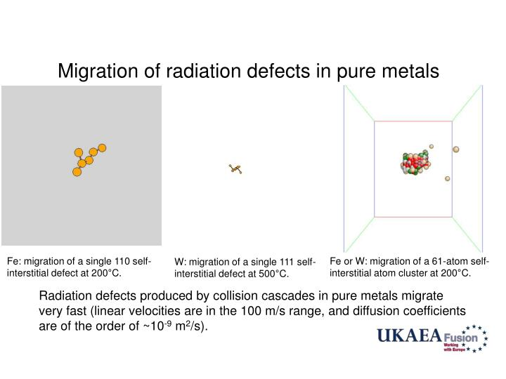 Migration of radiation defects in pure metals