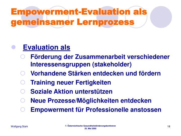 Empowerment-Evaluation als gemeinsamer Lernprozess