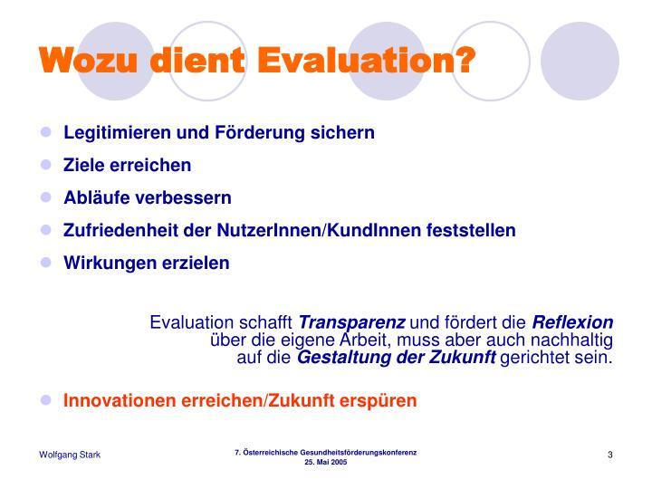 Wozu dient Evaluation?