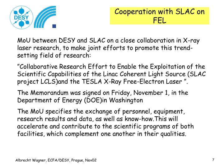 Cooperation with SLAC on FEL