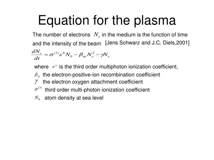 Equation for the plasma