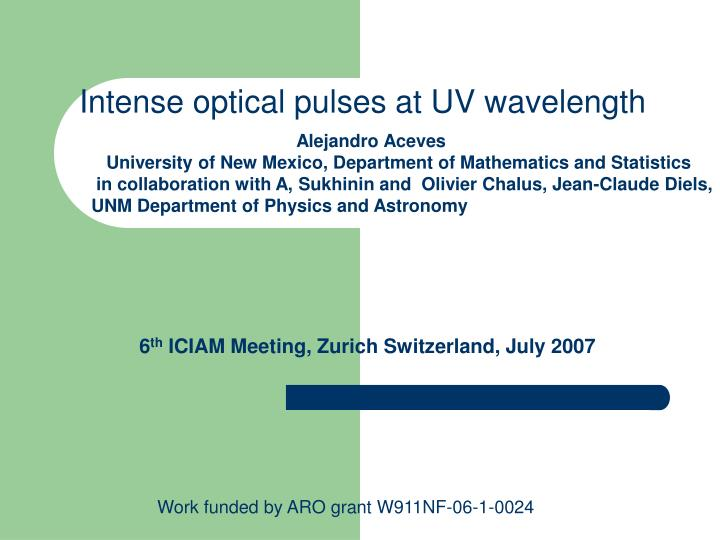 Intense optical pulses at UV wavelength