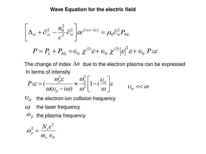 Wave Equation for the electric field