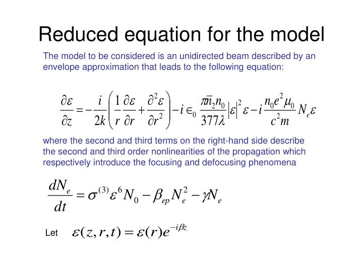 Reduced equation for the model