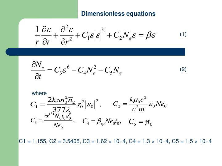 Dimensionless equations