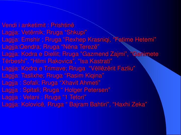 Vendi i anketimit : Prishtinë