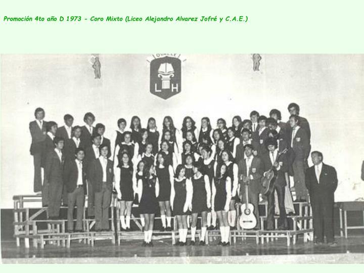 Promoción 4to año D 1973 - Coro Mixto (Liceo Alejandro Alvarez Jofré y C.A.E.)