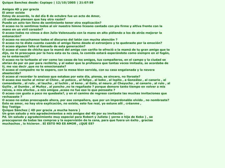 Quique Sanchez desde: Copiapo | 12/10/2005 | 21:07:59