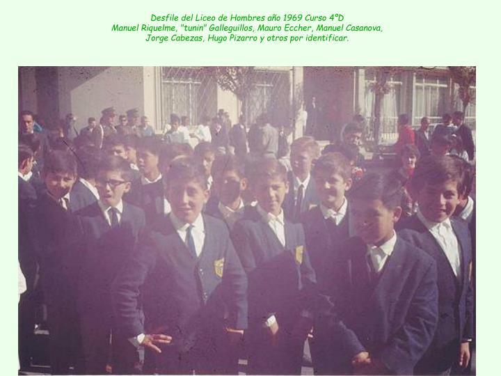 Desfile del Liceo de Hombres año 1969 Curso 4ºD