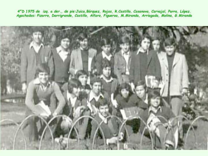 4ºD 1975 de  izq. a der., de pie:Juica,Bórquez, Rojas, R.Castillo, Casanova, Carvajal, Parra, López.