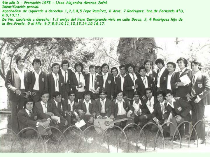 4to año D - Promoción 1973 - Liceo Alejandro Alvarez Jofré