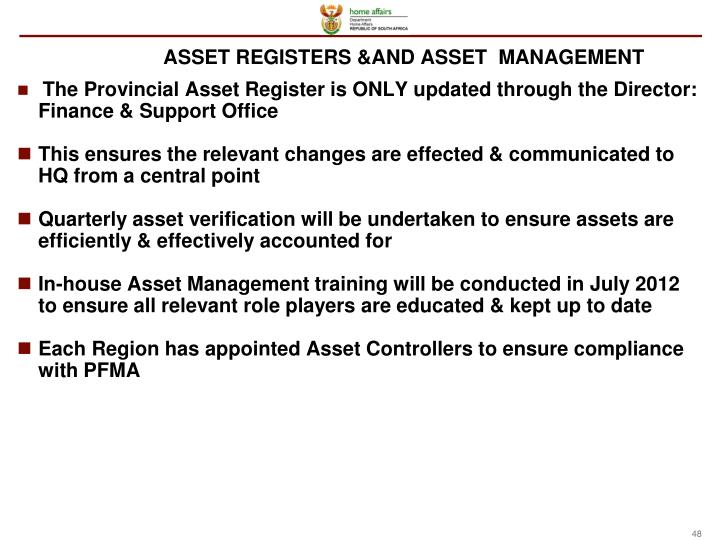 ASSET REGISTERS &AND ASSET  MANAGEMENT