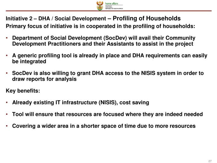 Initiative 2 – DHA / Social Development