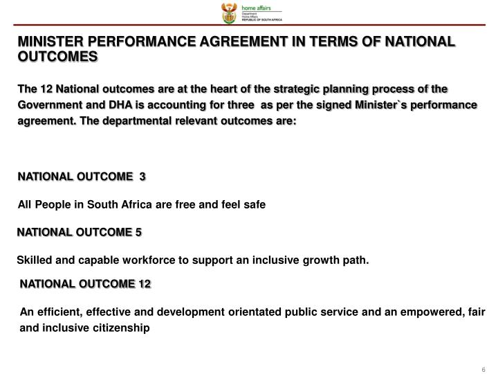 MINISTER PERFORMANCE AGREEMENT IN TERMS OF NATIONAL OUTCOMES