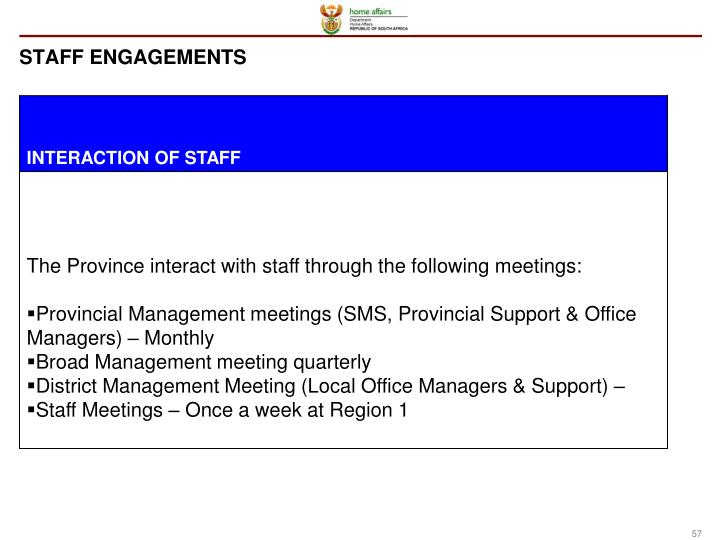 STAFF ENGAGEMENTS