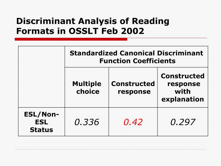 Discriminant Analysis of Reading Formats in OSSLT Feb 2002