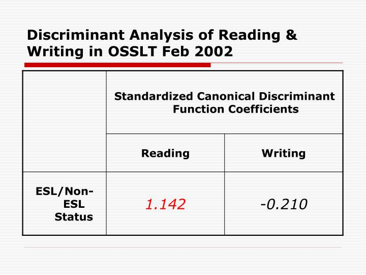 Discriminant Analysis of Reading & Writing in OSSLT Feb 2002