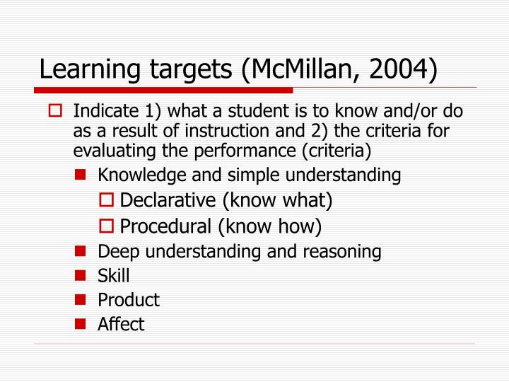 Learning targets (McMillan, 2004)