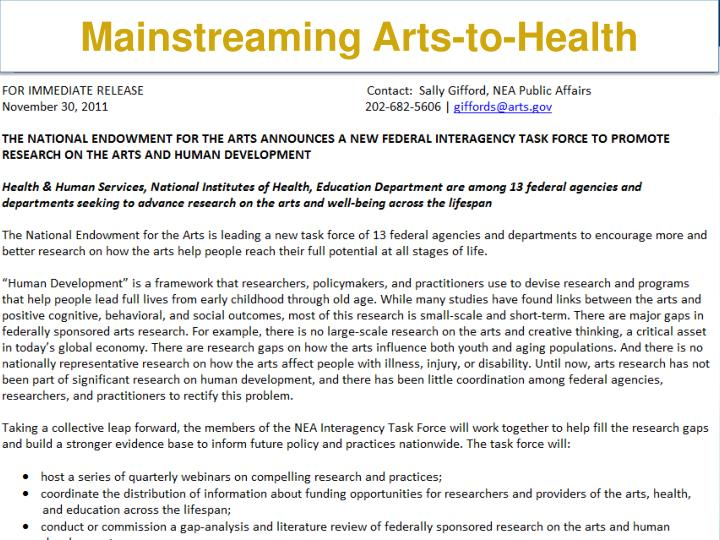 Mainstreaming Arts-to-Health
