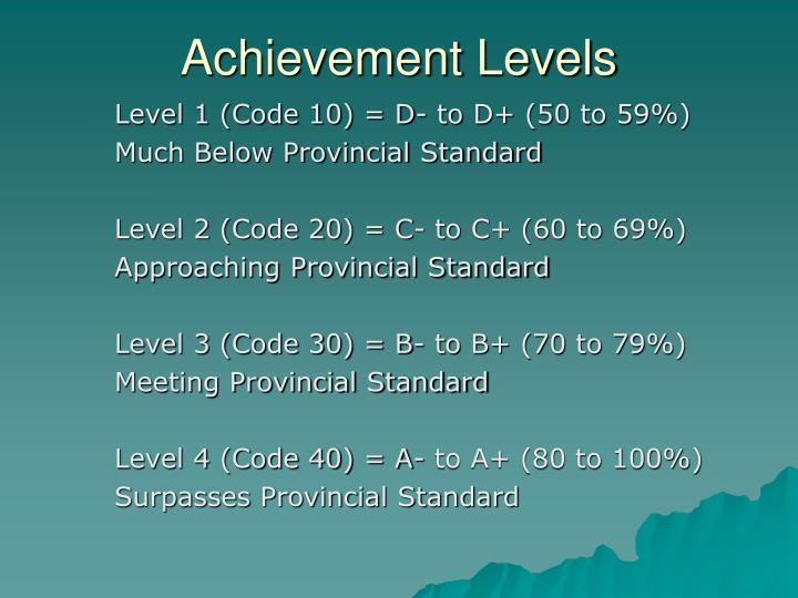 Achievement Levels