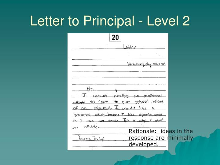 Letter to Principal - Level 2