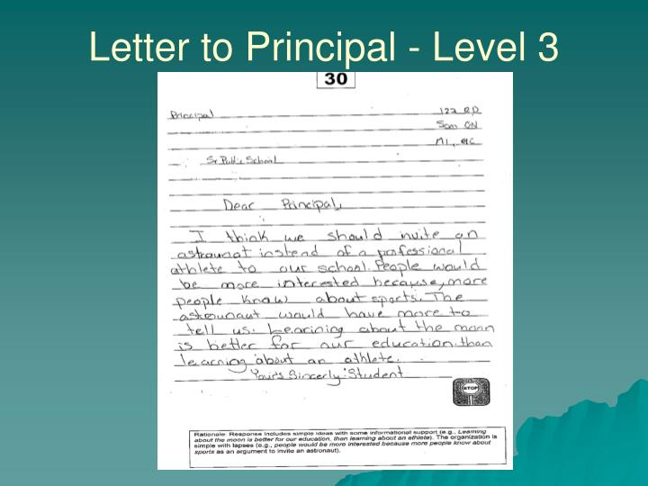 Letter to Principal - Level 3