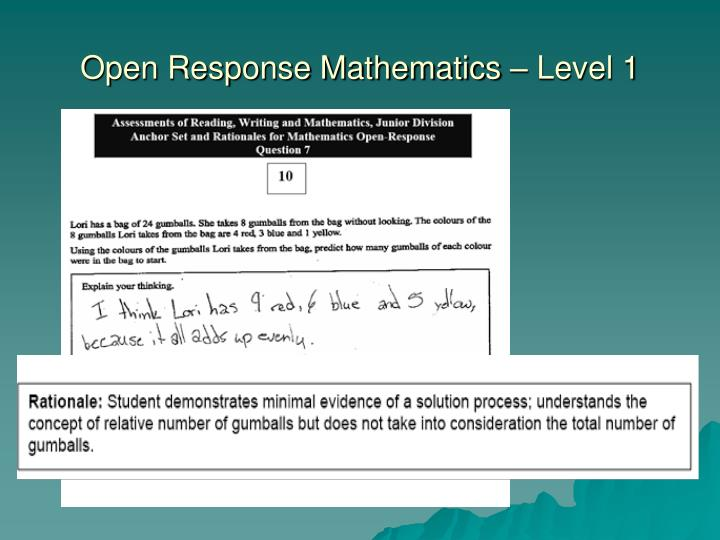 Open Response Mathematics – Level 1