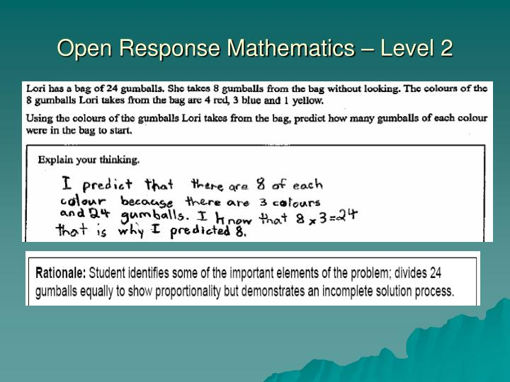 Open Response Mathematics – Level 2
