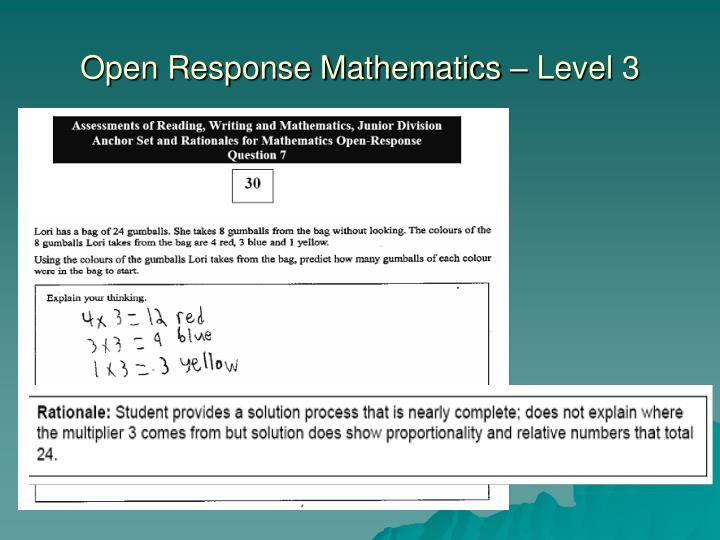 Open Response Mathematics – Level 3