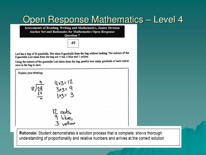 Open Response Mathematics – Level 4