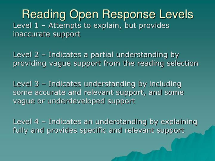 Reading Open Response Levels