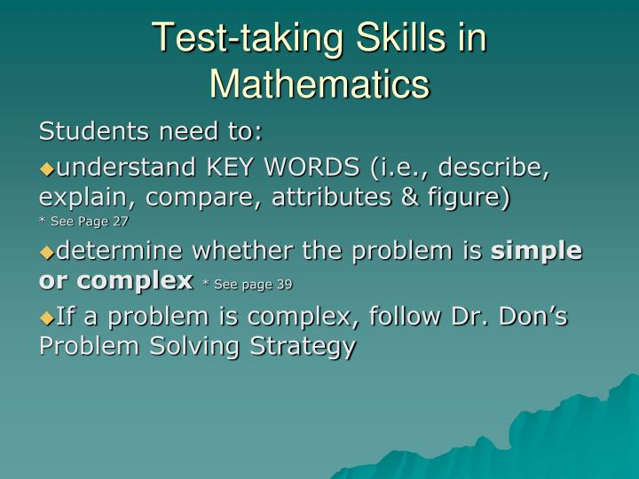 Test-taking Skills in Mathematics