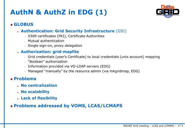 AuthN & AuthZ in EDG (1)