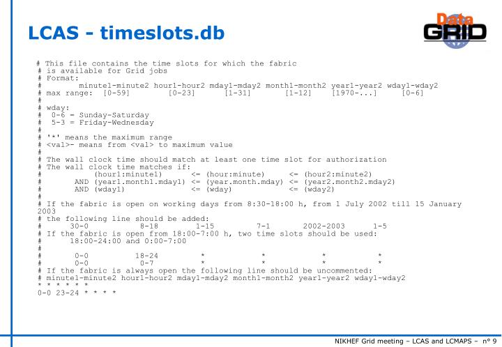 LCAS - timeslots.db