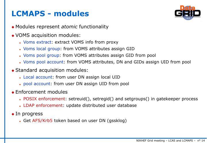LCMAPS - modules