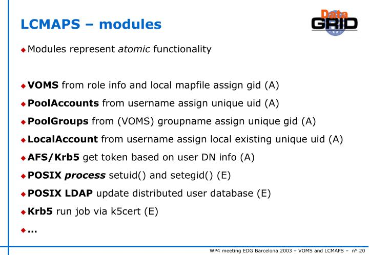 LCMAPS – modules