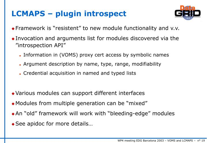 LCMAPS – plugin introspect