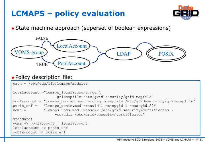 LCMAPS – policy evaluation